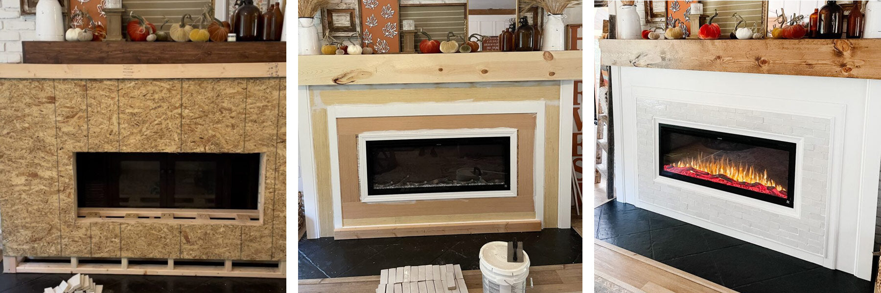 Progression of fireplace renovation by @redbrickfauxfarmhouse featuring Touchstone Sideline Elite Electric Fireplace