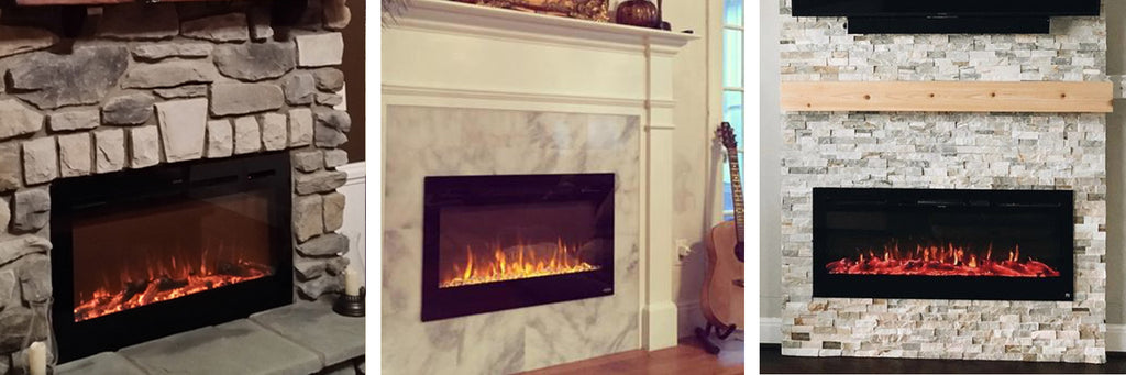 Touchstone Electric Fireplaces surrounded by stone and brick