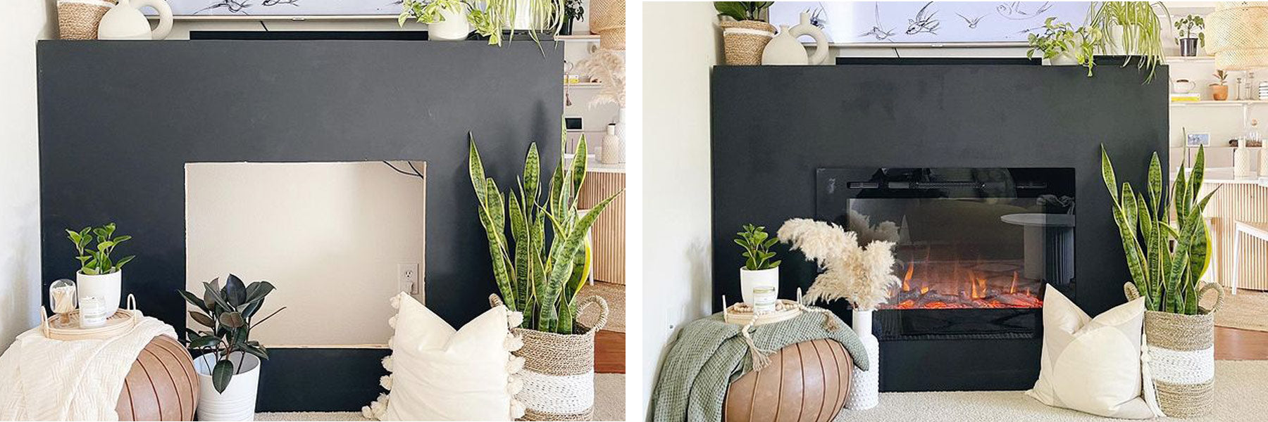A portable fireplace wall with dark gray Roman clay featuring the Touchstone Forte Electric Fireplace designed by @the.modberry