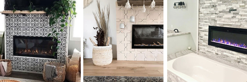 Touchstone Electric Fireplaces in a variety of tile walls