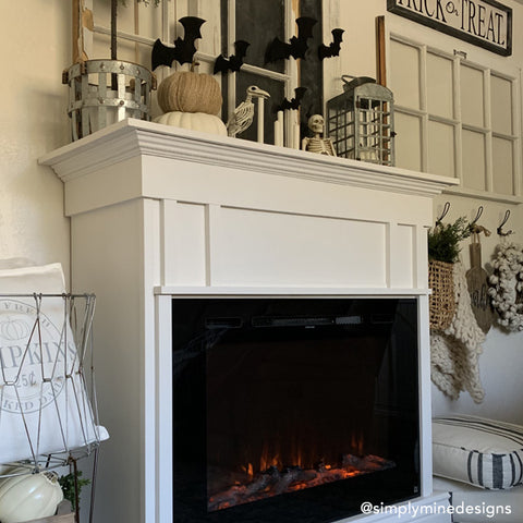 Touchstone Forte Electric Fireplace, decorated for Halloween by @simplyminedesigns