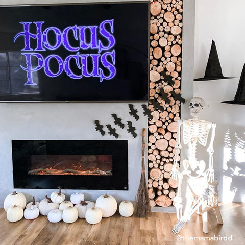 Onyx Electric Fireplace decorated for Halloween by @themamabirdd