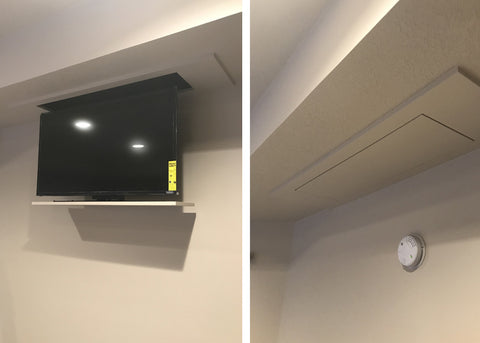 Touchstone Whisper Lift TV Lift Mechanism in a ceiling dropdown TV installation.