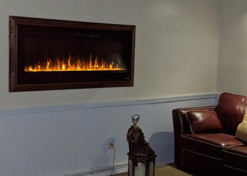 recessed electric fireplace stacked stone touchstone sideline 50 electric fireplace framed with wood for recessed installation frame it pictureperfect recessed installations
