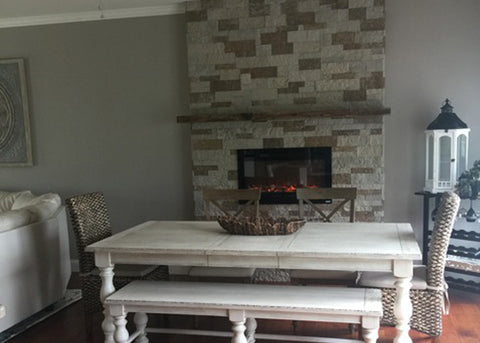 Touchstone Sideline 36 Electric Fireplace In The Dining Room