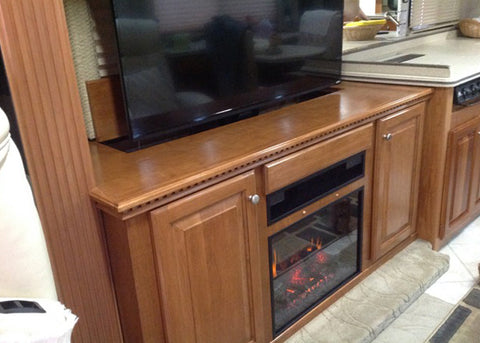 Whisper Lift TV Lift Custom Cabinet In RV