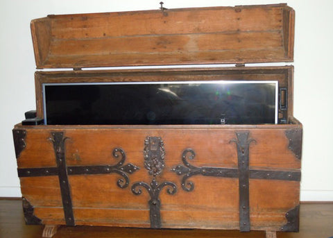 Whisper Lift TV Lift in an antique chest