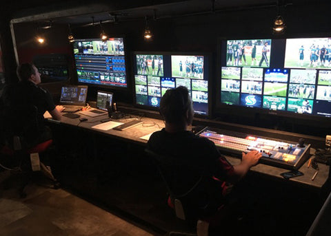 Whisper Lift TV Lift in college football team's production trailer.