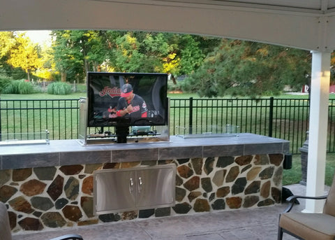 Touchstone Whisper Lift II TV Lift added to outside patio