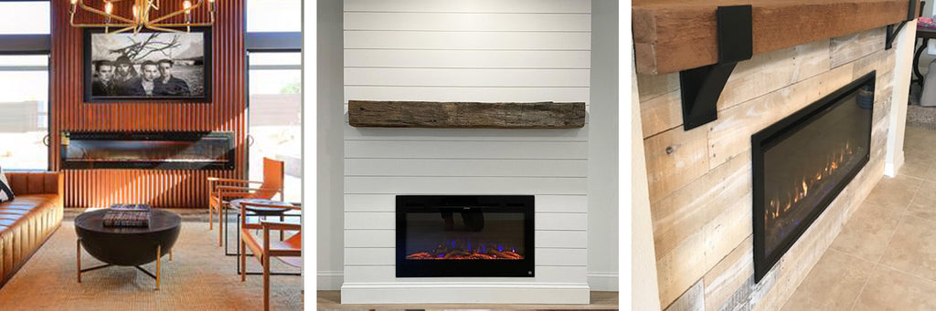 Touchstone Electric Fireplaces with wood paneling walls