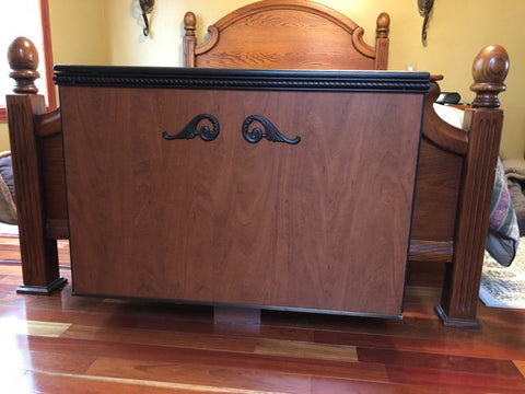 Customer Gary's custom built end of bed pop up TV cabinet using Touchstone TV lift mechanism