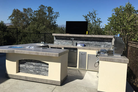 Tropicana Outdoor Living Custom BBQ Island with Touchstone TV Lift mechanism