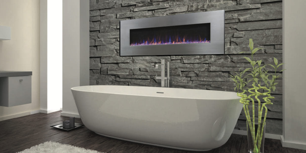 Touchstone AudioFlare Electric Fireplace with a Bluetooth®built in speaker installed in a bathroom