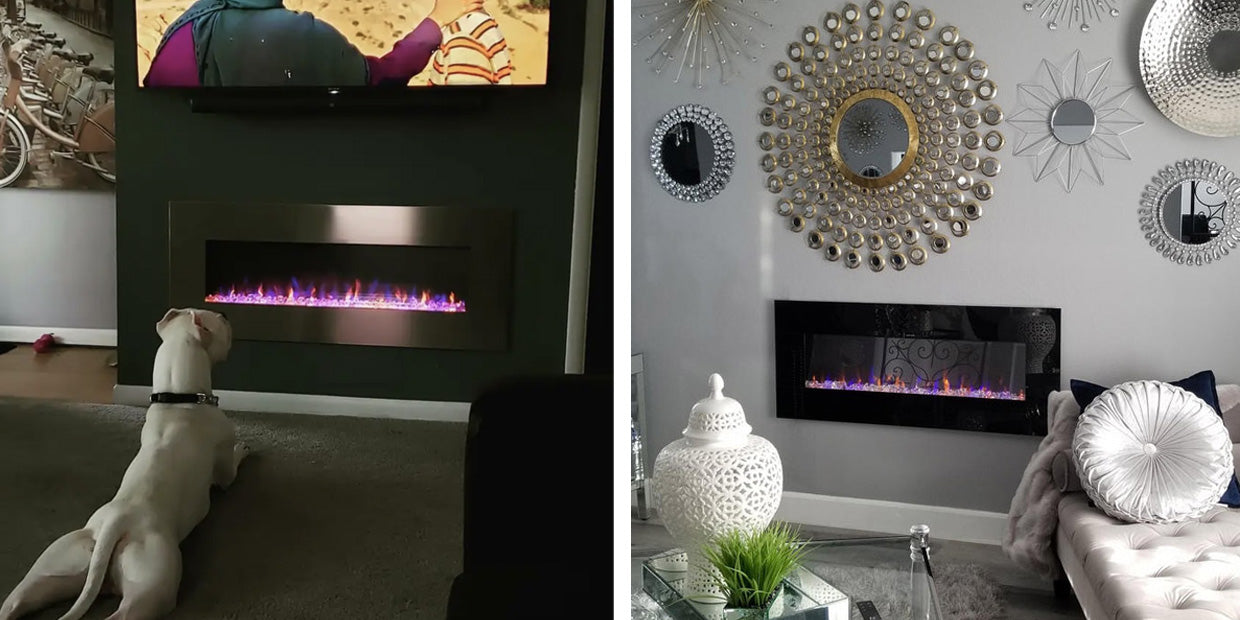 The AudioFlare Electric Fireplace is available with a black or stainless steel frame