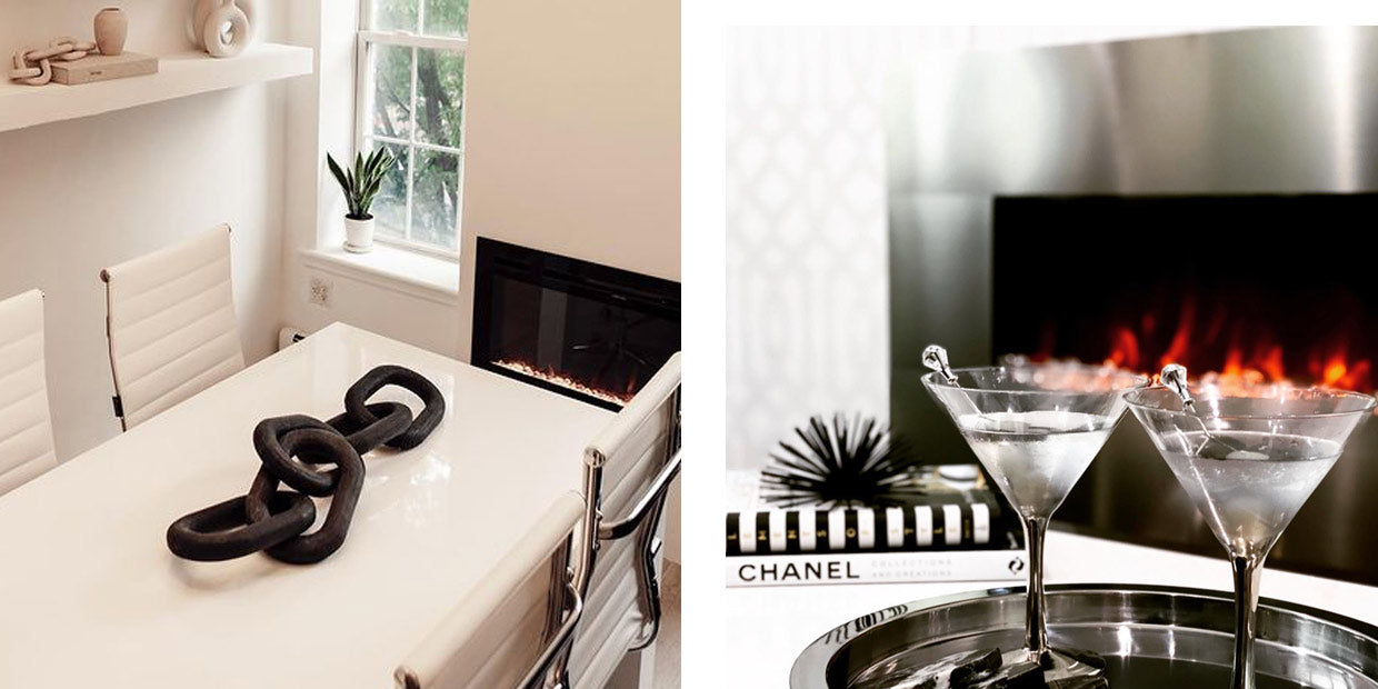 Touchstone Electric Fireplace in glam style room victorialeejones and suburbanstylist