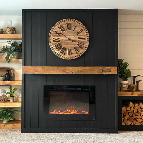 Forte Electric Fireplace in black shiplap wall with reclaimed wood mantel lyndaledrive