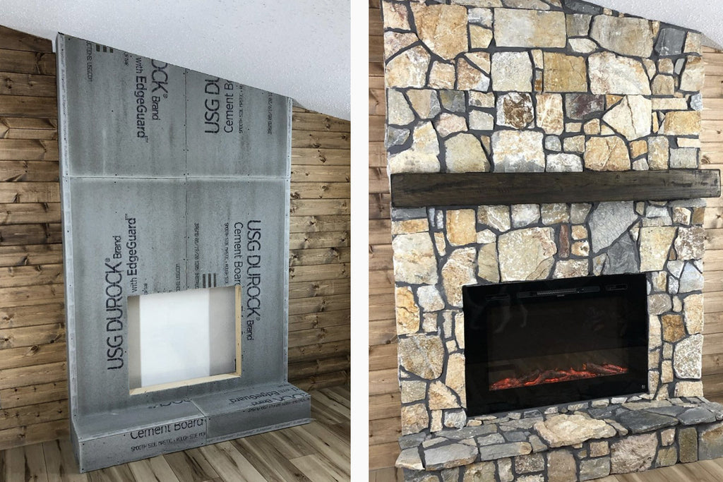 Nick's Custom Woodworks installs a Forte Electric Fireplace in a cozy cabin style fireplace mantel with Rock Ridge Ledger Stone surround.