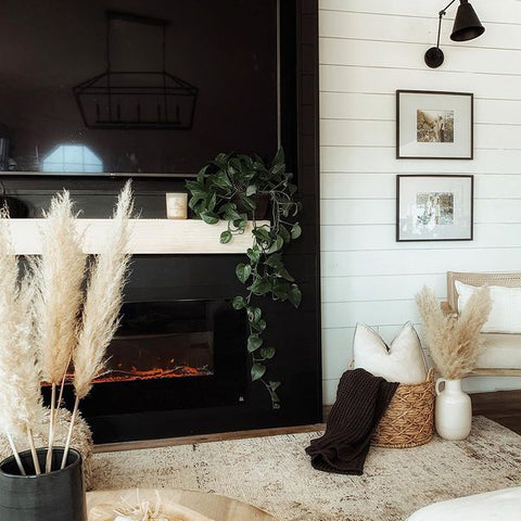 Touchstone Onyx Electric Fireplace hung on a black fireplace wall by themamabirdd