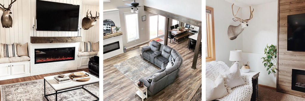 Contemporary rustic, barndominium rustic and rustic farmhouse style Touchstone Electric Fireplaces