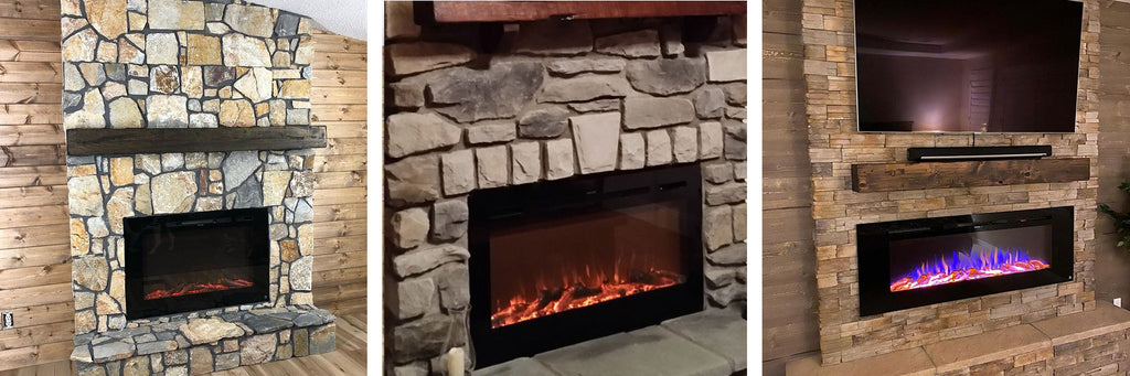 Rustic stone fireplaces with Touchstone Electric Fireplaces