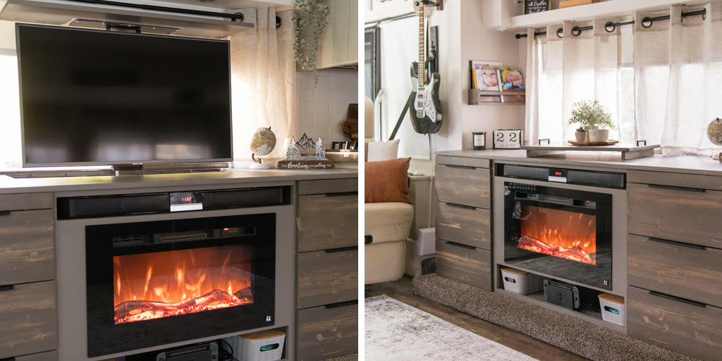 The Touchstone SRV Pro TV Lift Mechanism is installed in a custom RV media cabinet featuring a recessed Touchstone Sideline 28 Electric Fireplace