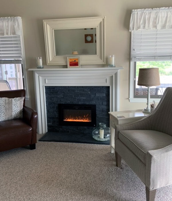 Touchstone Sideline 36 Electric Fireplace retrofitted into existing fireplace mantel by customer Ellen
