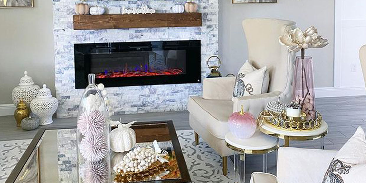 Touchstone Sideline 60 Electric Fireplace in gilded gold glam room by @sandraleestylez