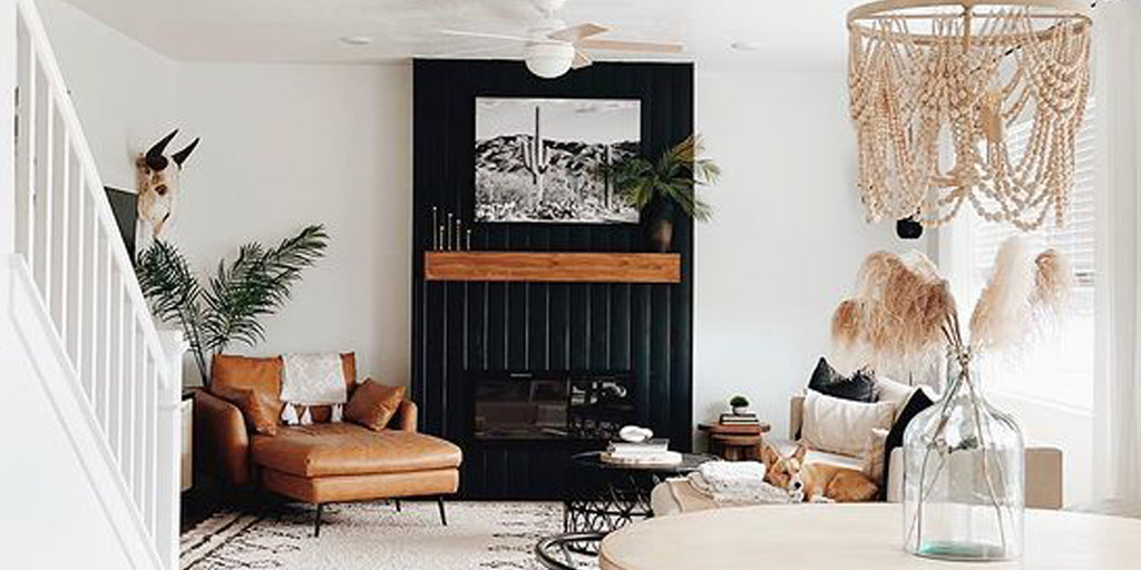 Black fireplace wall featuring Touchstone Sideline Electric Fireplace by @jamielee_designs