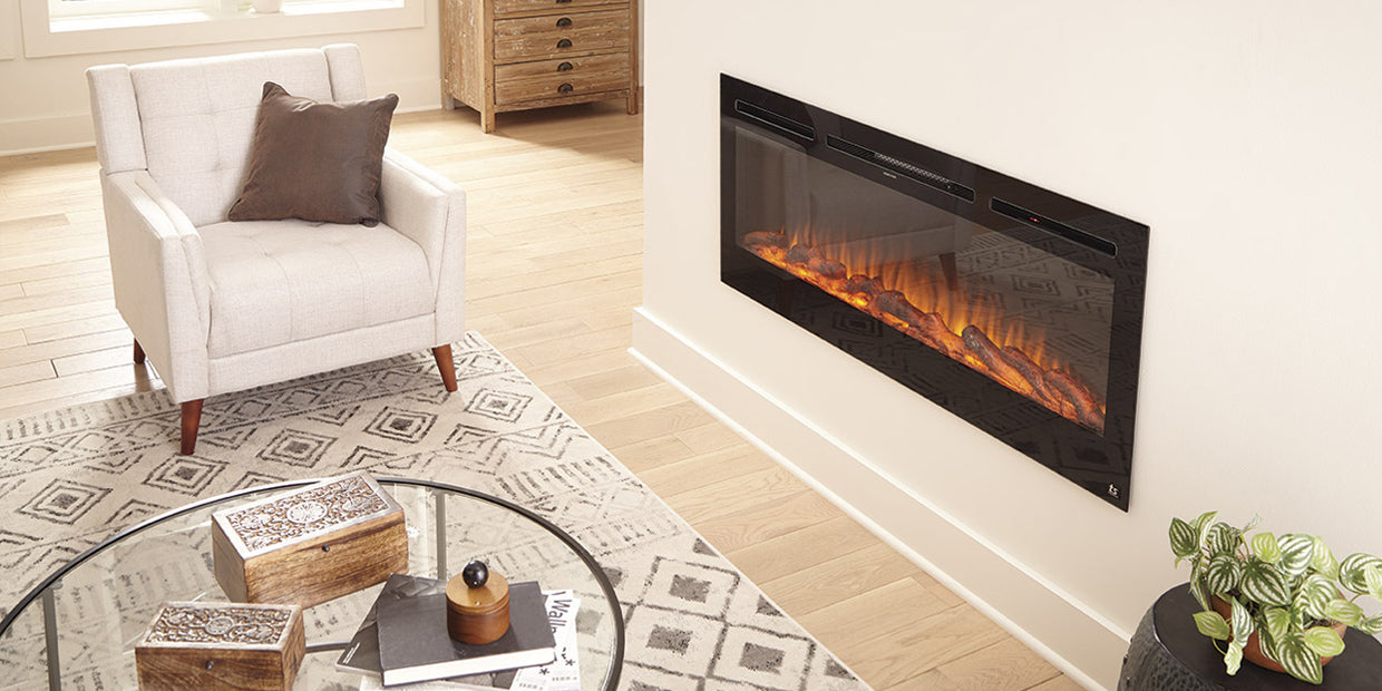 Touchstone Sideline 50 Electric Fireplace inserted in a neutral white wall