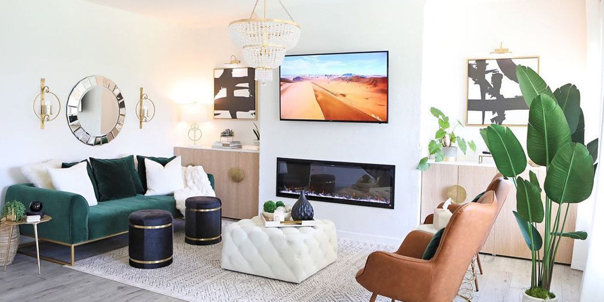Touchstone glam style Sideline Elite 60 Electric Fireplace in living room styled by @lisaherland