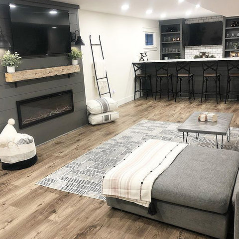 Sideline Elite Electric Fireplace in gray finished basement by briemarie1023