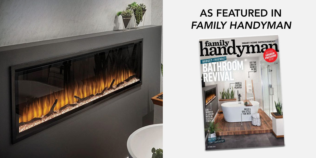 Touchstone Sideline Elite Electric Fireplace featured in Family Handyman publication