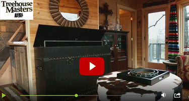 Touchstone Elevate Vintage Leather Trunk TV Lift Cabinet featured on Animal Planet's Treehouse Masters