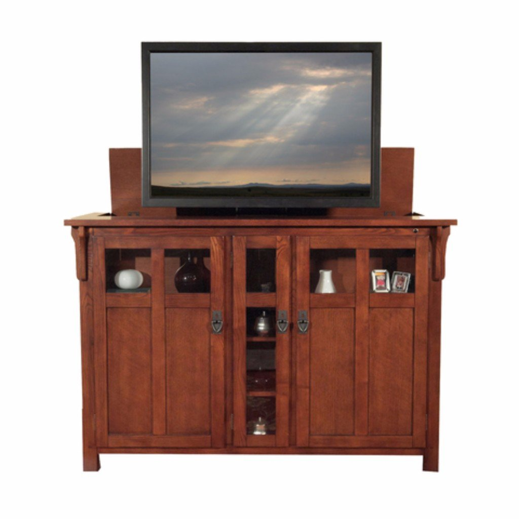 exquisite chestnut finish combined with its antique hardware give the bungalow mission style cabinet a modern the bungalow tv lift