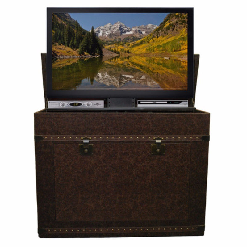 Appreciate the hand wrapped cigar leather chest that offers an old world feel to any room while providing the most advanced TV Lift mechanism