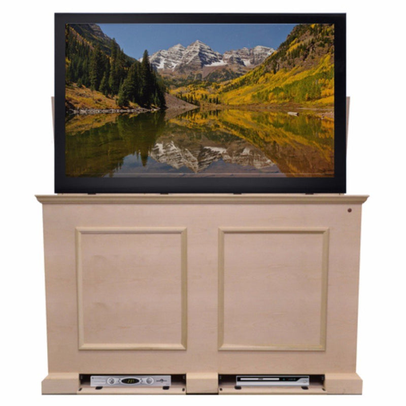 "Have us finish it, or let out your inner artist. No matter what your choice, you'll receive a beautiful cabinet capable of housing TVs up to 65"" and designed to last."