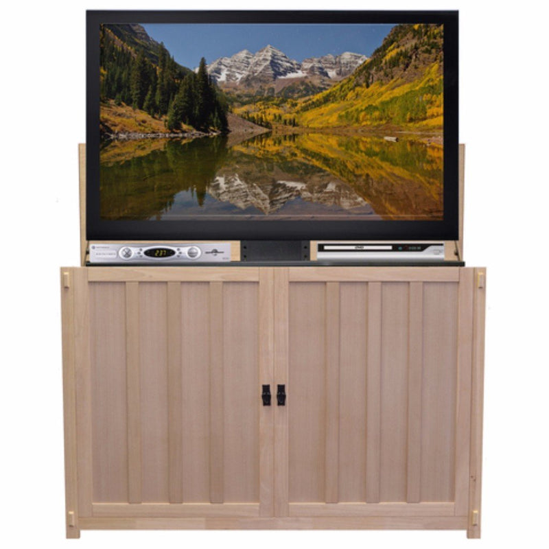 "Have us finish it, or let out your inner artist. No matter what your choice, you'll receive a beautiful Mission style cabinet designed to house a 65"" TV and compliment existing decor in your home."