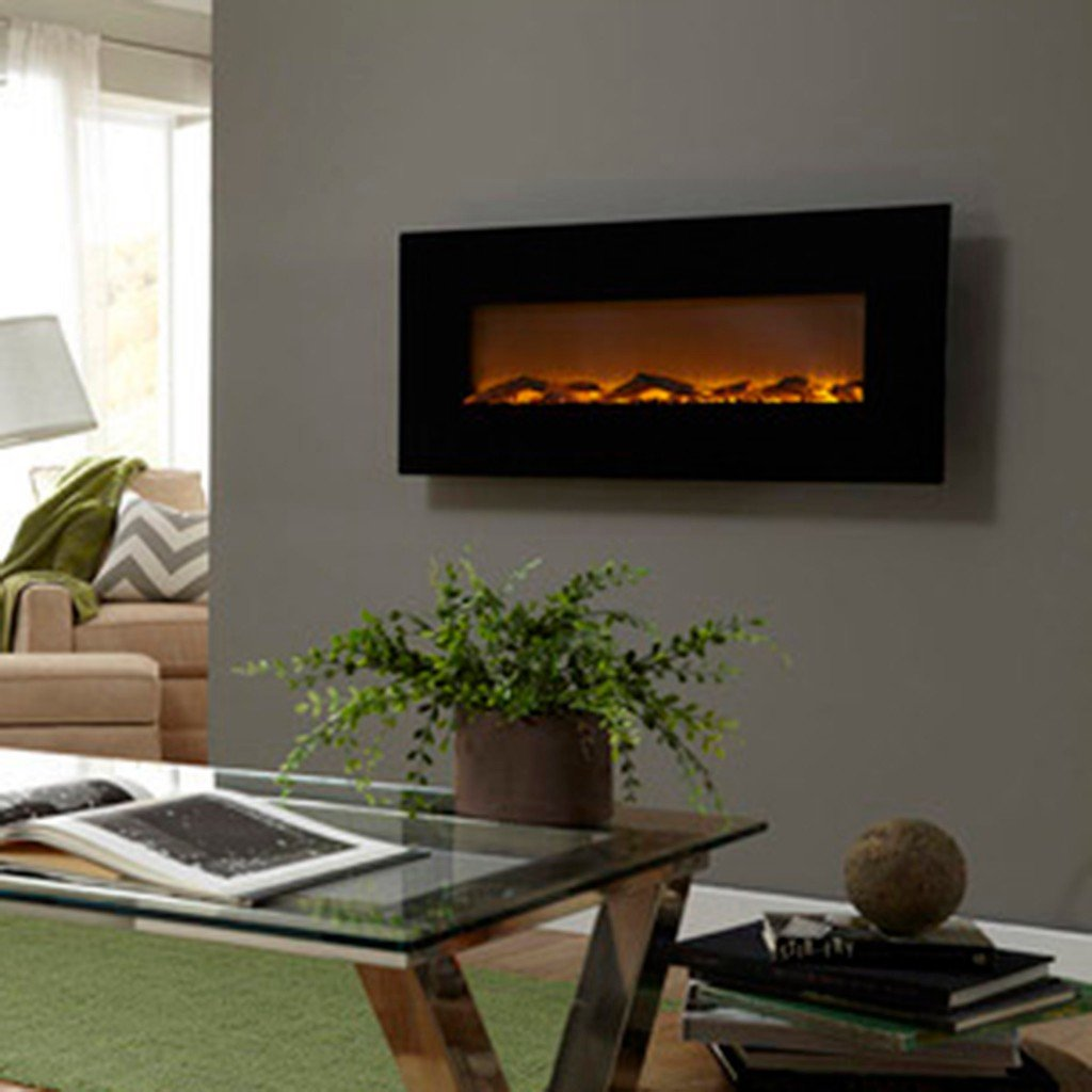 pebbles black soho mounted p electric curved fireplace inch wall