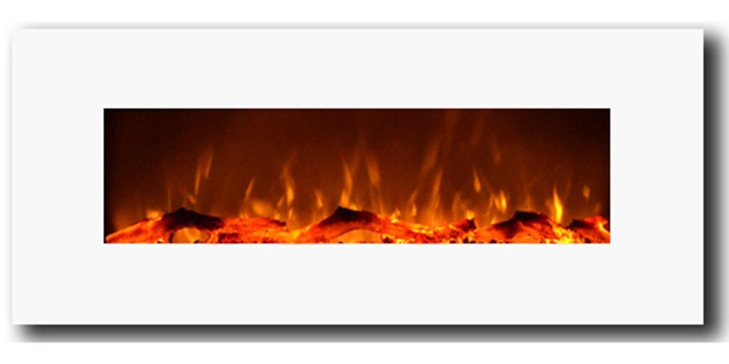"An eloquent, 50"" wide, electric fireplace with realistic flames and crystal white frame"