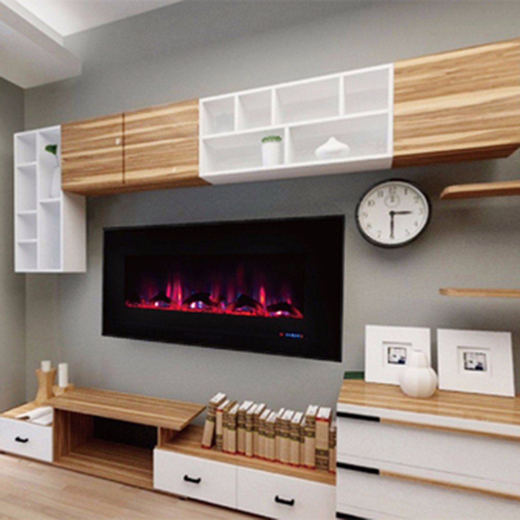 wall pin mounted linear electric log fireplace new oakland inch