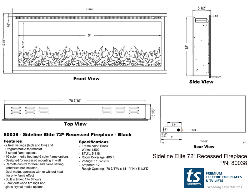 "Sideline Elite 72"" Recessed Electric Fireplace - Touchstone Home Products, Inc."