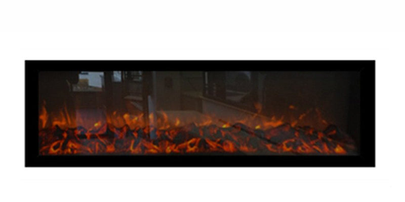 Featuring a rich modern balck frame and lifelike LED flames the Emblazon is the solution for any wide project.