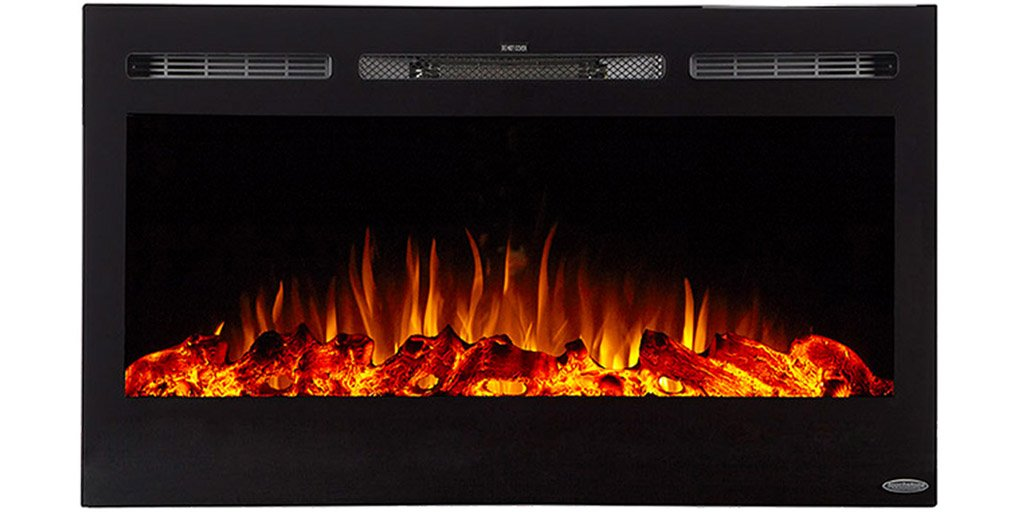"A beautifully compact, 36"" wide, electric fireplace with realistic flames and contemporary black frame capable of being recessed into the wall."