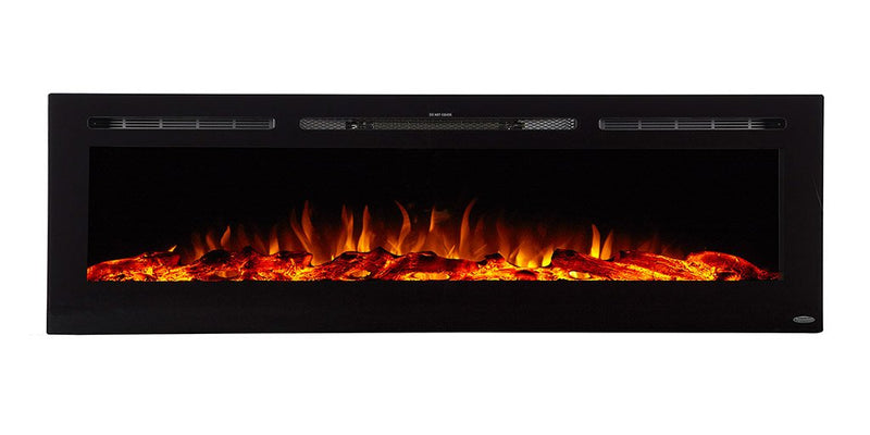 "A beautifully designed, 72"" wide, electric fireplace with realistic flames able to display multiple colors, and contemporary black frame capable of being recessed into the wall."