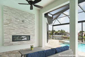 Sideline Indoor Outdoor Electric Fireplace in Florida sunroom