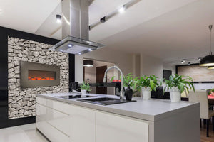 Touchstone Onyx Stainless Wall Mount Electric Fireplace in kitchen