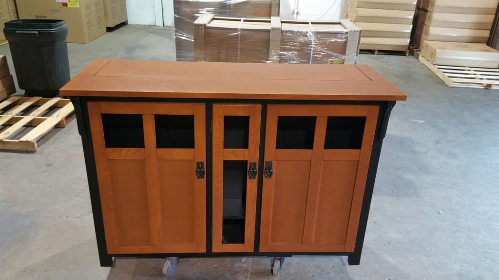 unfinished bungalow tv lift cabinet custom finished to a