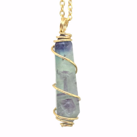 Wire Wrapped Fluorite Crystal Pendant