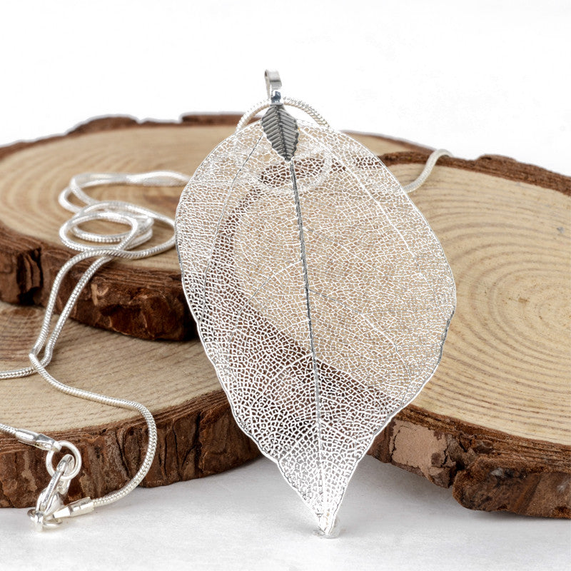 Silver Natural Real Leaf Pendant