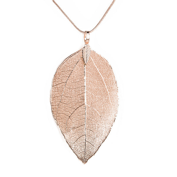 Rose Gold Natural Real Leaf Pendant